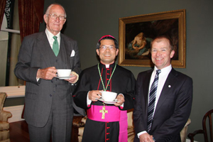 Prime Minister Malcolm Fraser , Auxiliary Bishop of Melbourne, Vincent Long Van Nguyen and Mark Clarke