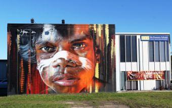 mural indigenous boy
